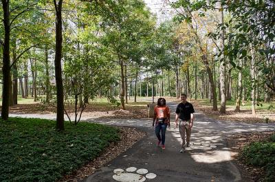 Man and woman woalking on a path in a wooded area of campus.