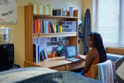 Student in dorm room at desk in frot of laptop.
